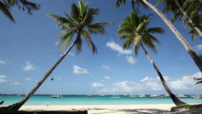 Tropical beach with two palms. Tropical beach with two coconut palms and white sand, Boracay, Philippines stock footage