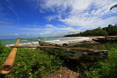 Tropical beach at Ujung Kulon Indonesia. With blue sky and white sandy beach Stock Photo