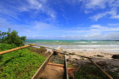 Tropical beach at Ujung Kulon Indonesia. With blue sky and white sandy beach Royalty Free Stock Photos