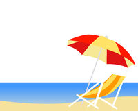 Tropical beach with umbrella and deck chair Stock Photos