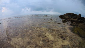 Tropical beach under gloomy sky. Fish-eye view stock video