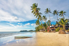 Tropical beach under gloomy sky Royalty Free Stock Images
