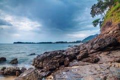 Tropical beach under gloomy sky Royalty Free Stock Photography