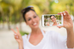 Tropical beach vacation smartphone selfie Royalty Free Stock Photo