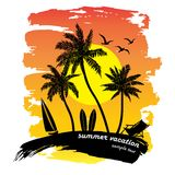 Tropical beach vector Royalty Free Stock Images