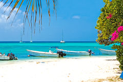 Tropical beach, Venezuela. Tropical beach with boats, Venezuela Royalty Free Stock Image