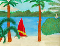 Tropical Beach View. A red and yellow striped sailboat is seen relaxing on a Virgin Island tan sand beach in this exotic location. Four other boats are seen on Stock Illustration