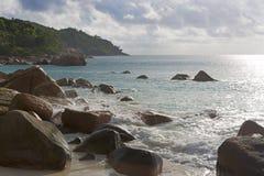 Tropical beach view at Anse Lazio, Seychelles Stock Photography
