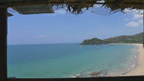 The tropical beach view from the hut in Krabi province, Thailand : Zoom shot. Tropical beach view from the hut in Krabi province, Thailand : Zoom shot stock video footage