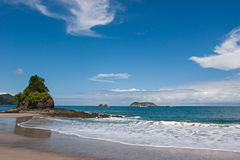 Tropical Beach. View over a beautiful pacific beach at Manuel Antonio, Costa Rica. National Reserve stock photo