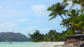 Tropical beach view, Seychelles. Tropical beach of Anse Volbert, Praslin island, Seychelles stock video