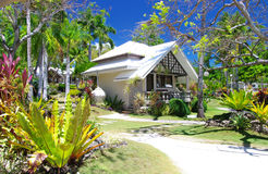 Tropical beach villa. With garden royalty free stock photos