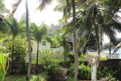 Tropical beach. Villa on Seychelles with palms, rocks. White villa on the beach stock images