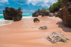 Tropical beach with volcanic rocks Royalty Free Stock Photography