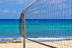 Tropical Beach with Volleyball Net Stock Image