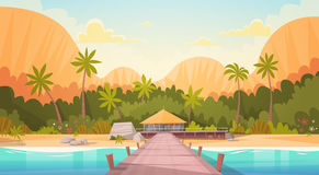 Tropical Beach With Water Bungalow House Landscape, Summer Travel Vacation Concept Stock Images