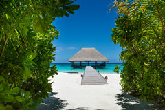 Tropical beach with water villa at Maldives Stock Image