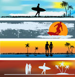 Tropical Beach Web Banner Templates Stock Photography