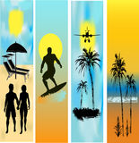 Tropical Beach Web Banner Templates Royalty Free Stock Photos
