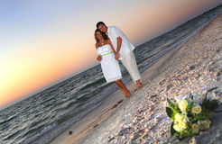 Tropical Beach wedding couple stock images