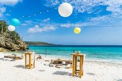 Tropical Beach Wedding Curacao Views Stock Images