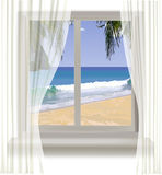 Tropical beach through the window Royalty Free Stock Photo