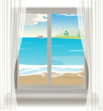 Tropical beach through the window Royalty Free Stock Image