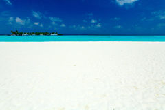 Tropical Beach With Island And Boats Royalty Free Stock Photos