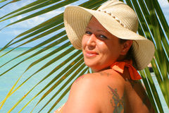 Tropical beach woman royalty free stock photography
