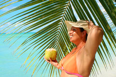 Tropical beach woman Stock Photos