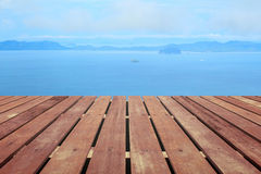 Tropical beach with wooden floor Stock Image