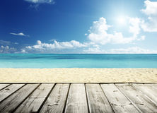 Tropical beach and wooden. Platform Stock Photos