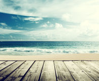 Tropical beach and wooden Royalty Free Stock Photo