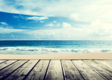 tropical beach and wooden Stock Image