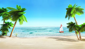 Tropical beach and yacht. Royalty Free Stock Photos