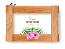 Tropical beaches. Of beautiful plants flower and border frame stock illustration