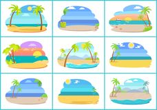 Tropical Beaches with Blue Sea and Tall Palms. Hot countries with amazing sandy beaches. Beach resorts at sea shore isolated vector illustrations set vector illustration