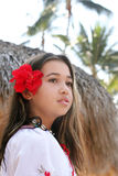 Tropical beauty. Beautiful girl on a tropical island Royalty Free Stock Images