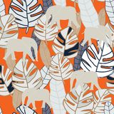 Tropical beige and grey leaves with beige elephant on orange background seameless repeat. Modern design great for invitations, fabric, wallpaper, giftwrap stock photo
