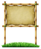 Tropical Billboard Sign. Tropical blank billboard sign made of bamboo frame as an exotic decorative hot tropic climate design element made with sticks tied Stock Images