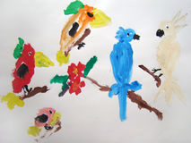 Tropical birds - painted by child Stock Image
