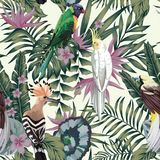 Tropical birds plants leaves flowers abstract color seamless bac. Tropical birds parrot hoopoe, exotic jungle plants leaves flowers abstract pastel color Royalty Free Stock Photo