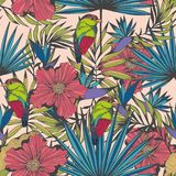 Tropical birds and plants. Vector seamless hand made pattern. For design and decoration of textiles, clothing, covers, wallpaper, curtains, accessories Royalty Free Stock Photo