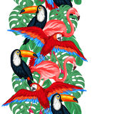Tropical birds seamless pattern with palm leaves Stock Photography