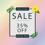 Tropical black frame with yellow flower petal and green leaves. 35% off Sale banner template design. Big sale special offer. stock illustration