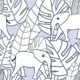 Tropical black and white leaves and elephant on pastel background seameless repeat. Modern design great for invitations, fabric, wallpaper, giftwrap. Surface royalty free stock photography
