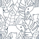 Tropical black and white line drawing leaves with beige elephant vector illustration