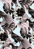 Tropical black and white patchwork seamless background. Fashion black white tropic exotic patchwork of toucan bird and plant Monstera, palm banana leaves. Print Royalty Free Stock Photo