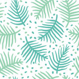 Tropical blue palm or ferm leaves. Seamless pattern. Vector illustration. Handdrawn Royalty Free Stock Photos