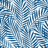 Tropical blue palm tree leaves in a seamless pattern.  Royalty Free Stock Photography